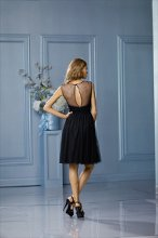 450 Color Shown: Black Illusion bateau neckline Key-hole back Shirred, above-the-knee length skirt