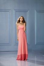493 Color Shown: Coral/Salmon Strapless, surplice bodice Band at waist will always be the same as the band at the hem. Floor length, shirred, modified full skirt