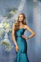 476 Color Shown: Teal/Black Strapless neckline Fit and flare silhouette Single-faced satin, skinny bow ribbon belt at waist