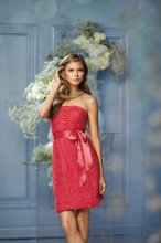 "439 Color Shown: Watermelon/Poppy Strapless, elastic neckline and elastic waist All-over ""wave"" textured appliquéd dress Single-faced satin ribbon sash at waist Above-the-knee length slim skirt"