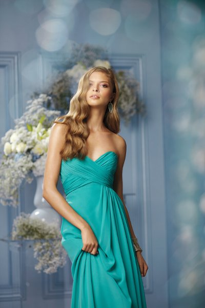 491	 Color Shown:  Mermaid Strapless, sweetheart neckline Criss-cross shirred bodice Side-draped, floor length, slim,   a-line skirt