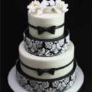 130x130 sq 1420744369005 black  white brocade wedding cake