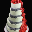 130x130 sq 1420745400694 rose petal cascade  double side bow wedding cake