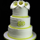 130x130 sq 1433365163385 yellow trio of calla lilies wedding cake