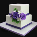 130x130 sq 1449519883918 2tier square wedding cakewith rose bouquet