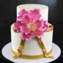130x130 sq 1449520116165 pink peony gold ribbon cake