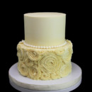 130x130 sq 1449520323916 ivory pearls  rosettes wedding cake
