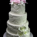 130x130 sq 1449524172763 fanciful lace roses and orchid wedding cake