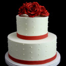 130x130 sq 1449524309776 trio of red roses with swiss dots wedding cake