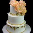130x130 sq 1478200711448 gold filigree with peonies cake