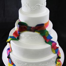 220x220 sq 1357853132469 tiedyeribbonweddingcake