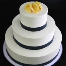 220x220 sq 1357853182909 yellowcallalilynavybandweddingcake