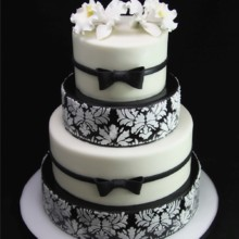 220x220 sq 1420744369005 black  white brocade wedding cake