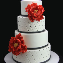 220x220 sq 1443811374195 quilted with red peonies wedding cake
