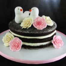 220x220 sq 1449519977050 doves  roses on naked cake