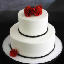 220x220 sq 1449520125300 rose  black pearls wedding cake