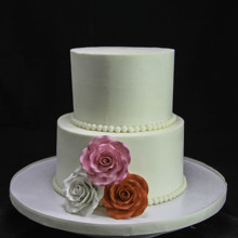 220x220 sq 1449520344020 trio of roses 2 tiered wedding cake