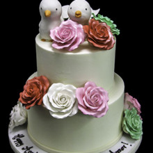 220x220 sq 1449520371007 3d dove with roses annviversary cake