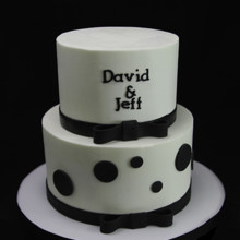 220x220 sq 1449520447516 monogram  bow tie wedding cake