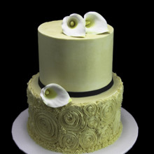 220x220 sq 1449520460062 rosettes with calla lillies cake