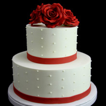 220x220 sq 1449520511957 trio of red roses with swiss dots wedding cake