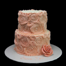 220x220 sq 1449521154303 pink rosettes with rose cake