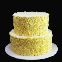220x220 sq 1449521680875 ivory rosette wedding cake