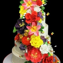 220x220 sq 1478201335690 cascading curved flowers cake