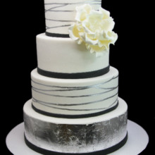 220x220 sq 1479491605730 silver leaf tier with giant peony cake