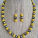 Yellow and Gray Pearl Necklace & Earring Set