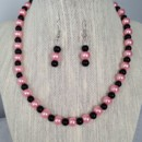 Blush Pink and Black Pearl Necklace Set