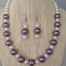 Purple and White Pearl Necklace Set