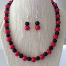 Red and Black Pearl Necklace Set