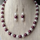 Burgundy and White Pearl Necklace Set