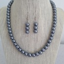 Gray Pearl Necklace & Earring Set