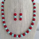Tiffany Blue and Red Pearl Necklace Set