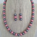 Pink and Gray Pearl Necklace Set