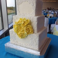 220x220 sq 1384441073654 lace  yellow rose cake 09 15 1