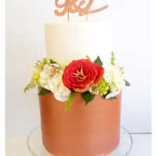 220x220 sq 1471120828710 2 tier rose gold fondant topper fresh florals