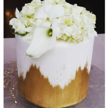 220x220 sq 1471120963275 single tier gold brush fresh floral cake