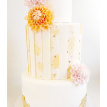 220x220 sq 1471121420711 paneled gold leaf dhalias cake