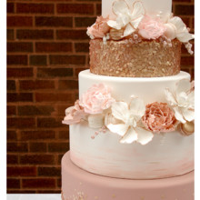 220x220 sq 1471121628055 rose gold seuqin wedding cake