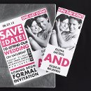 """One Day Event Save the Date"" - This large save the date card has your photo on the front and your upcoming wedding information enlarged when you open it up. 9 1/4"" x 3 7/8"""