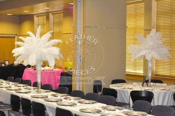Ostrich feather centerpiece rentals by featherpieces