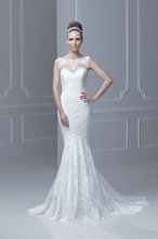 """Fada"" A lace overlay trumpet skirt gown with a sweetheart neckline and sheer lace neckline."