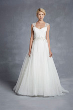 Blue by Enzoani Halifax Picture-perfect romance and femininity are epitomized in this tulle A-line gown complete with a soft sweetheart neckline, ruched tulle bodice, and beaded appliqués accentuating the waist. Beaded cap sleeves and a keyhole back provide the ultimate touches of elegance.