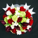 Burgundy Calla Lily/Red Roses/White Freesia Wedding Bouquet