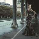 ORIEL A tulle and lace applique gown with sheer illusion neckline and trumpet skirt.