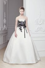 """Olesia"" Strapless A-line satin gown with bold lace detail on the bodice. Black belt ties at natural waist."