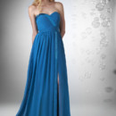 Sweetheart shirred bust with Charmeuse trim, gathered waistband and Charmeuse detail on full Bella Chiffon skirt with slit.